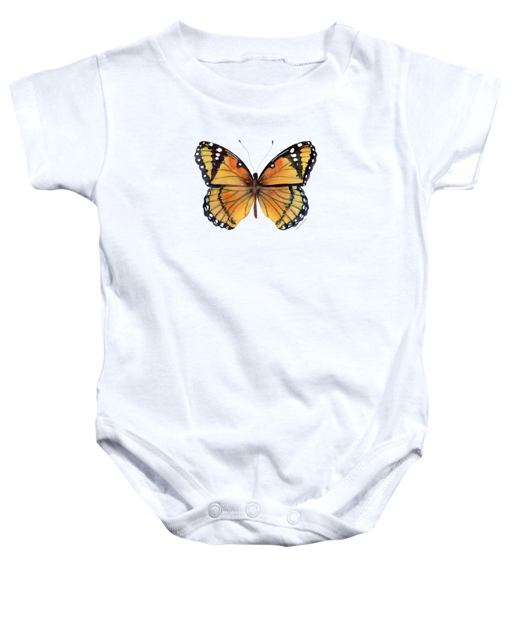 Viceroy Baby Onesie featuring the painting 76 Viceroy Butterfly by Amy Kirkpatrick