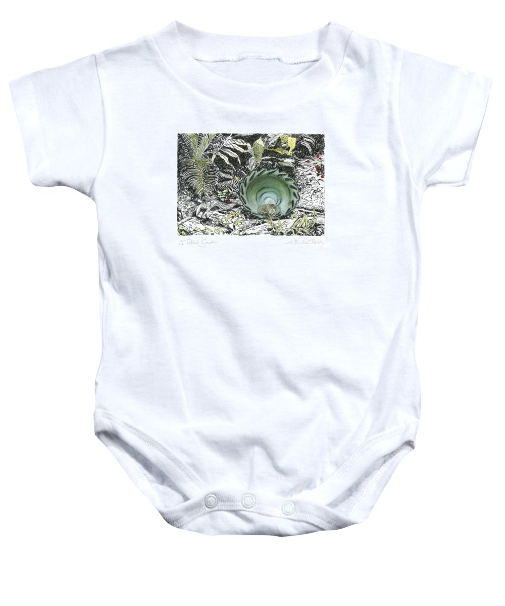 Fine Art Baby Onesie featuring the drawing A Potters Garden - Section 01 by Kerryn Madsen- Pietsch