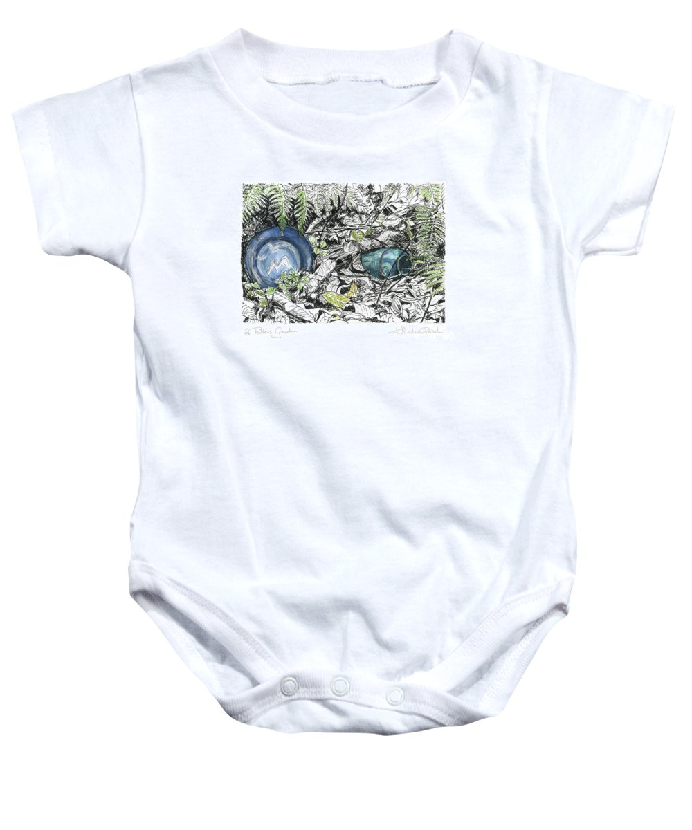 Fine Art Baby Onesie featuring the drawing A Potters Garden - Section 02 by Kerryn Madsen- Pietsch