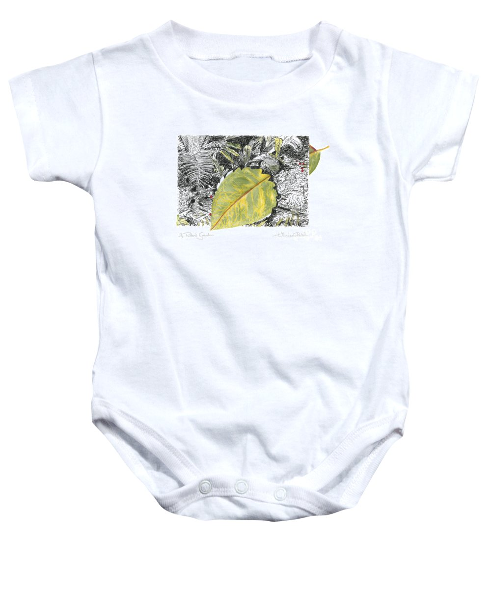 Fine Art Baby Onesie featuring the drawing A Potters Garden - Section 03 by Kerryn Madsen- Pietsch