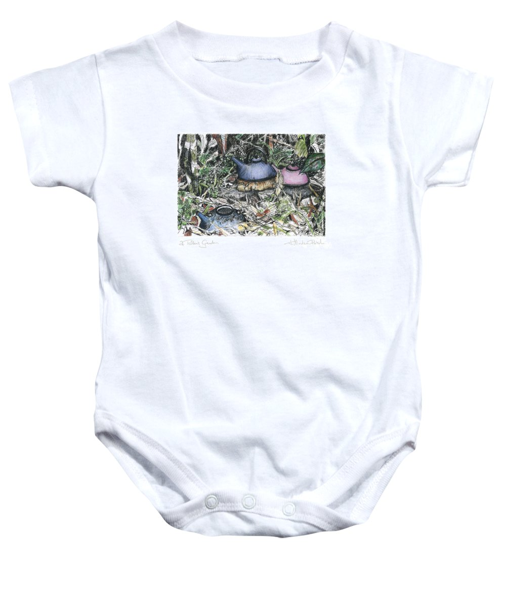 Fine Art Baby Onesie featuring the drawing A Potters Garden - Section 04 by Kerryn Madsen- Pietsch