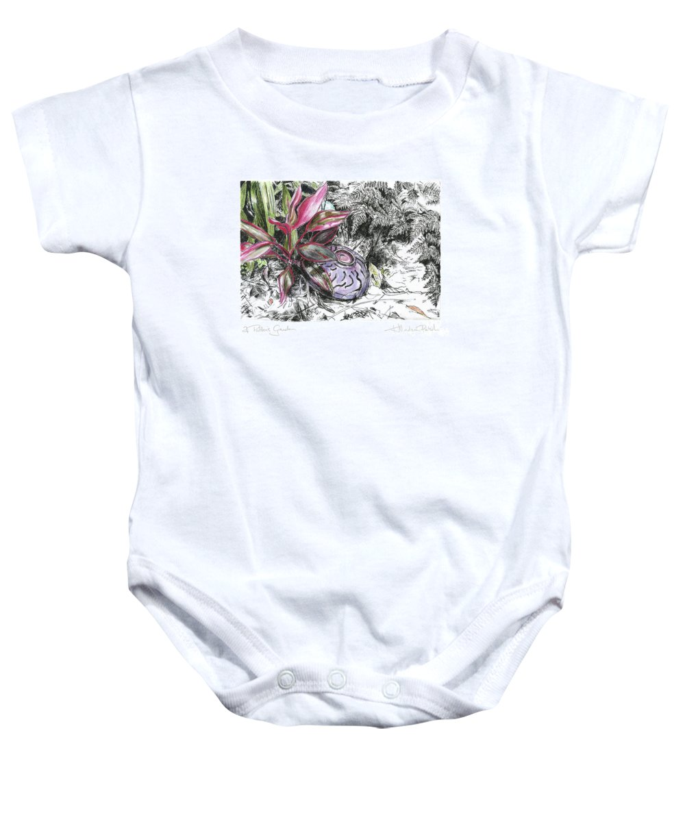 Fine Art Baby Onesie featuring the drawing A Potters Garden - Section 05 by Kerryn Madsen- Pietsch