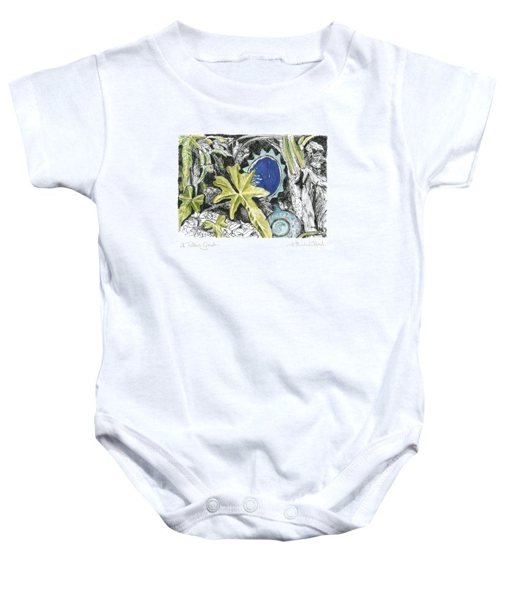 Fine Art Baby Onesie featuring the drawing A Potters Garden - Section 06 by Kerryn Madsen- Pietsch