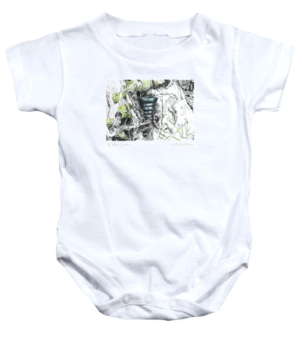 Fineart Baby Onesie featuring the drawing A Potters Garden - Section 07 by Kerryn Madsen- Pietsch