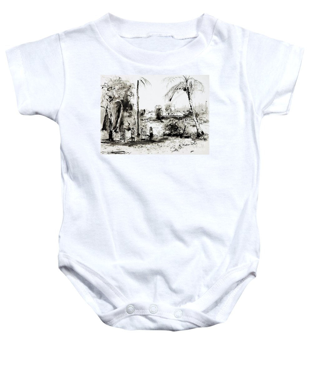 Tropical Baby Onesie featuring the painting Artists at work by the Johnstone River Innisfail FNQ  by Kerryn Madsen-Pietsch