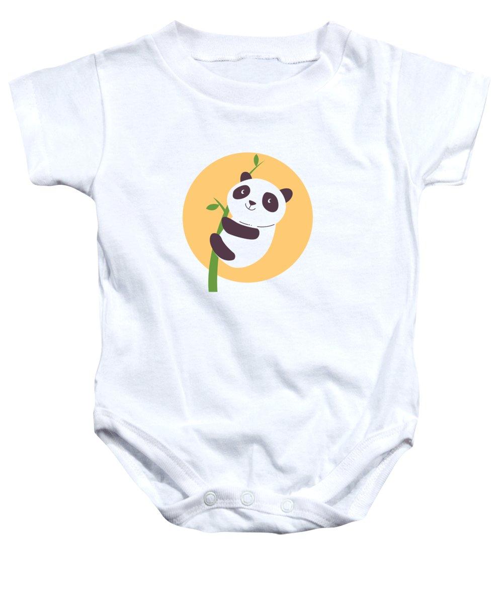 Adorable Baby Onesie featuring the digital art Baby Panda Hugging an Eucalyptus Plant by Jacob Zelazny