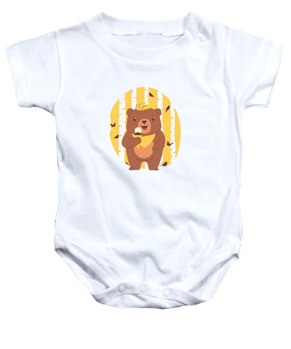 Adorable Baby Onesie featuring the digital art Bear Cub Eating Ice Cream in Forest by Jacob Zelazny