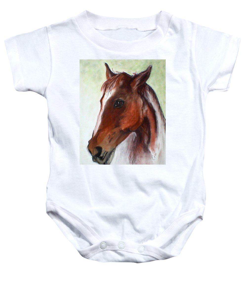 Horse Baby Onesie featuring the drawing Becky by Cori Solomon