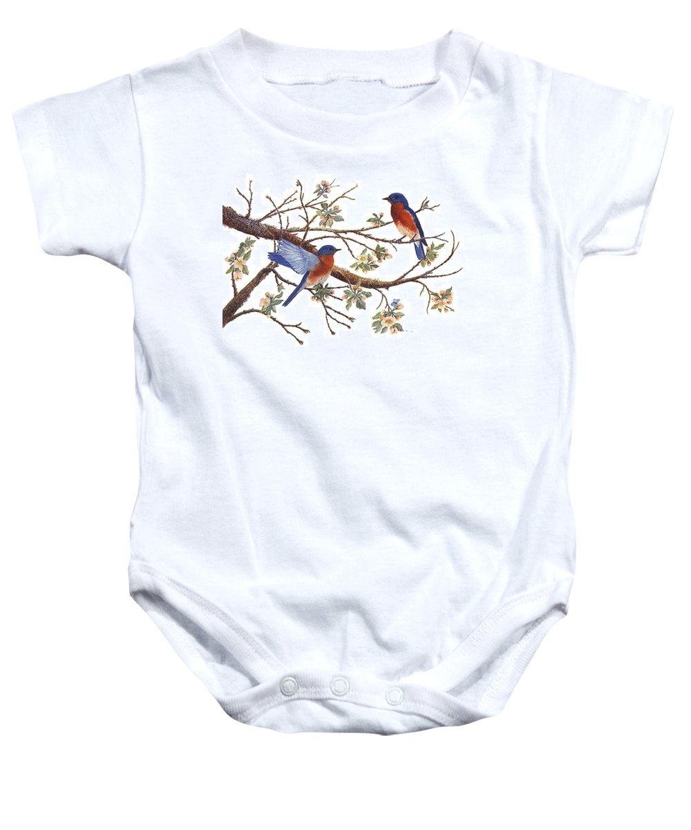 Bluebirds Baby Onesie featuring the painting Bluebirds And Apple Blossoms by Ben Kiger