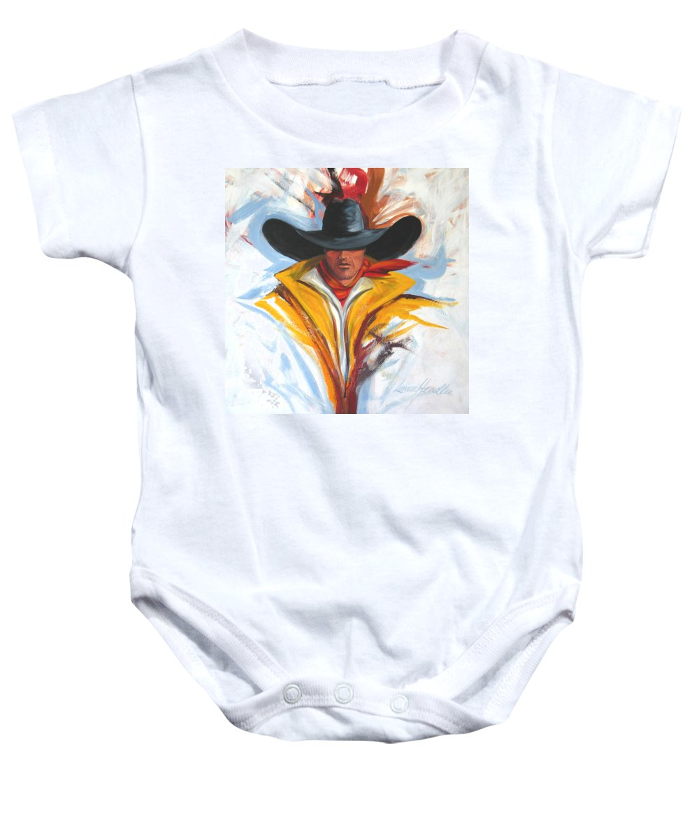 Horses Art Baby Onesie featuring the painting Brushstroke Cowboy by Lance Headlee