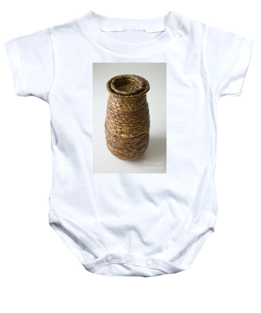 Banana-fibre Baby Onesie featuring the mixed media Cocoon Pod by Kerryn Madsen-Pietsch