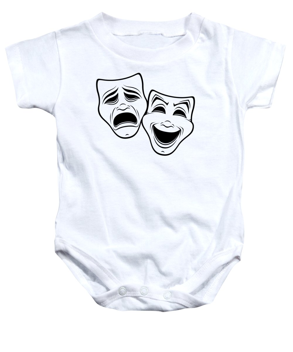 Acting Baby Onesie featuring the digital art Comedy And Tragedy Theater Masks Black Line by John Schwegel