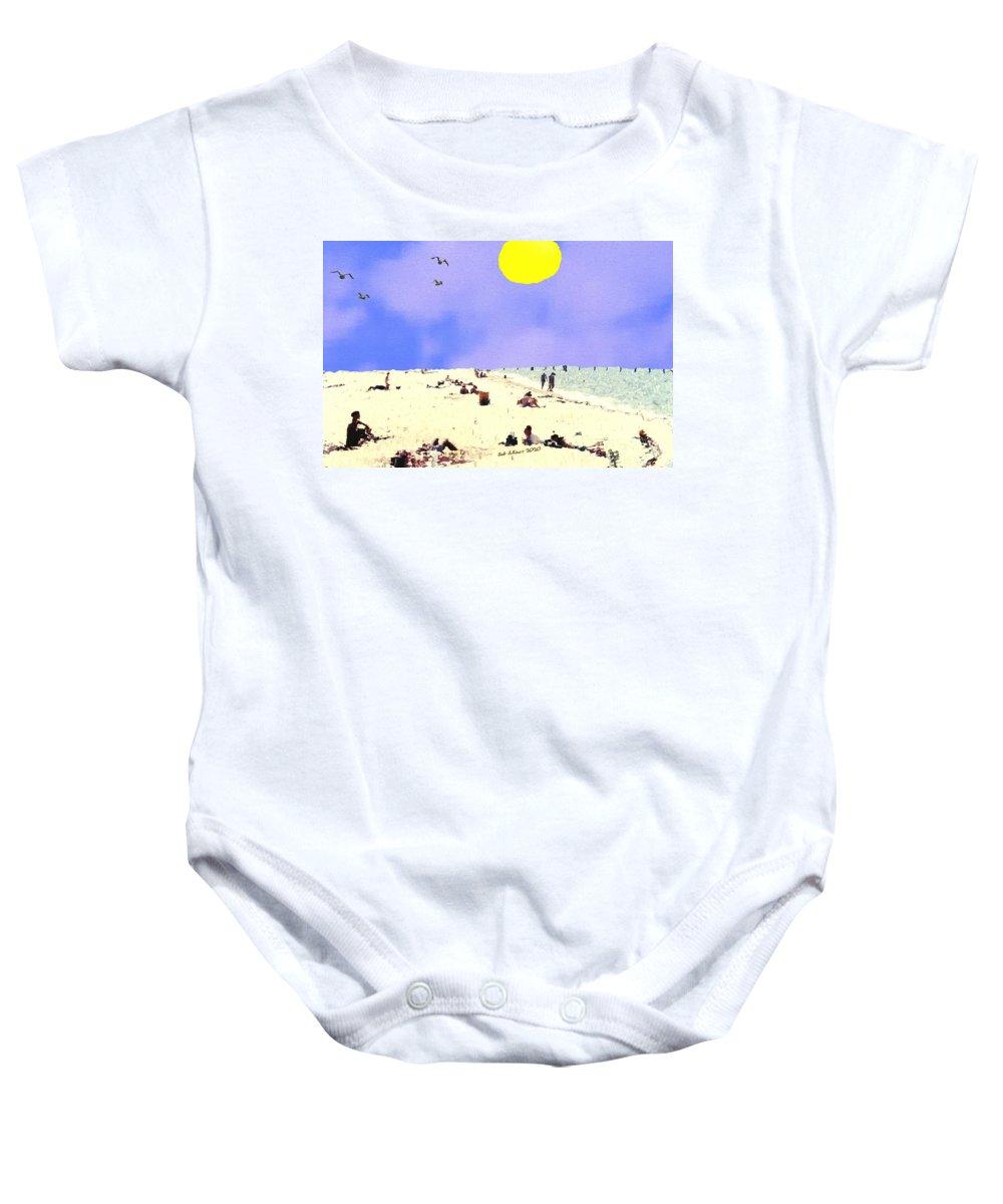 Digital Beach Summer Sea Baby Onesie featuring the digital art Day at the Beach by Bob Shimer