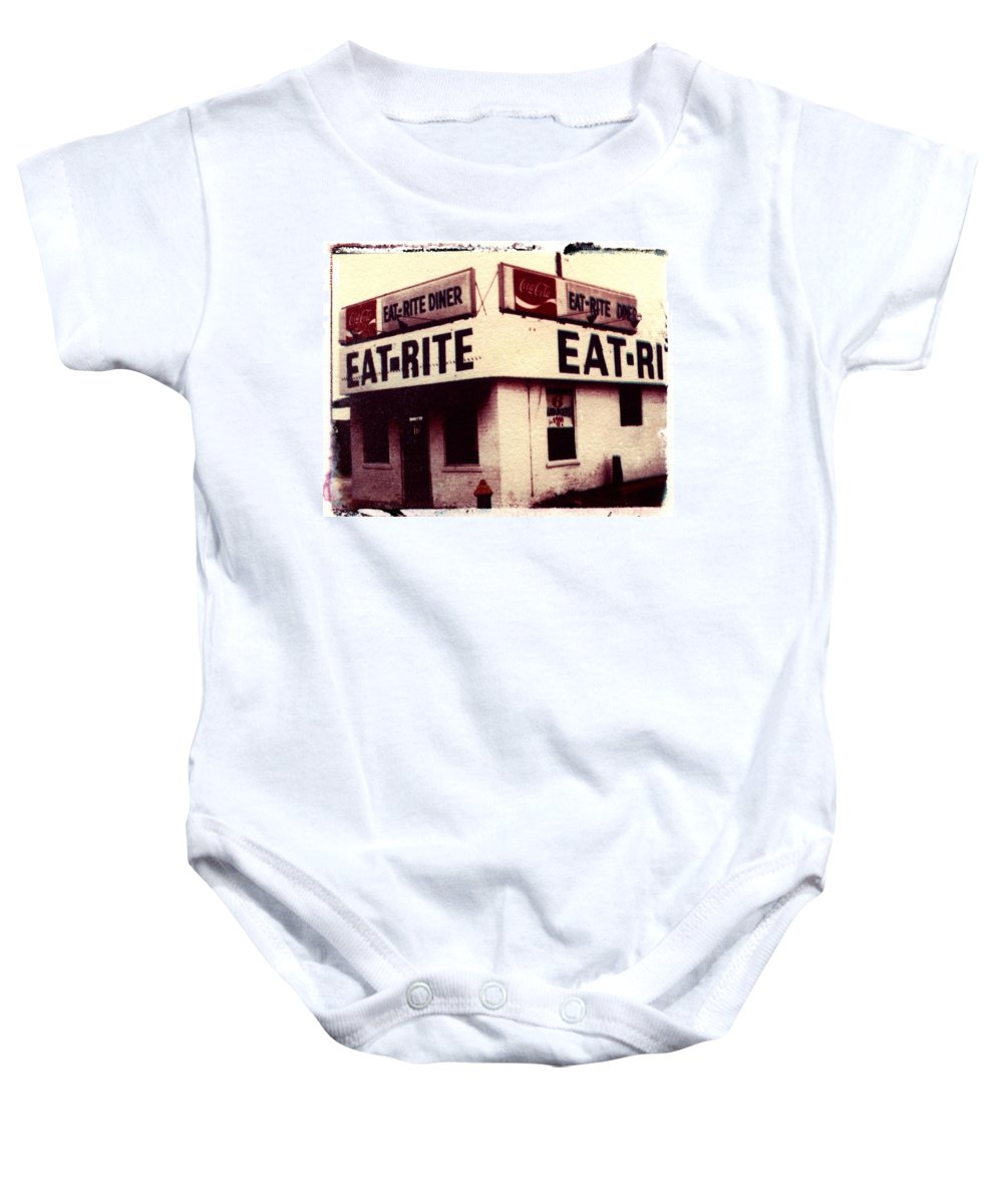 Polaroid Transfer Baby Onesie featuring the photograph Eat Rite by Jane Linders