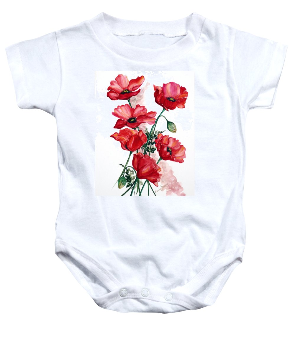 Original Watercolor Of English Field Poppies Painted On Arches Watercolor Paper Baby Onesie featuring the painting English Field Poppies. by Karin Dawn Kelshall- Best