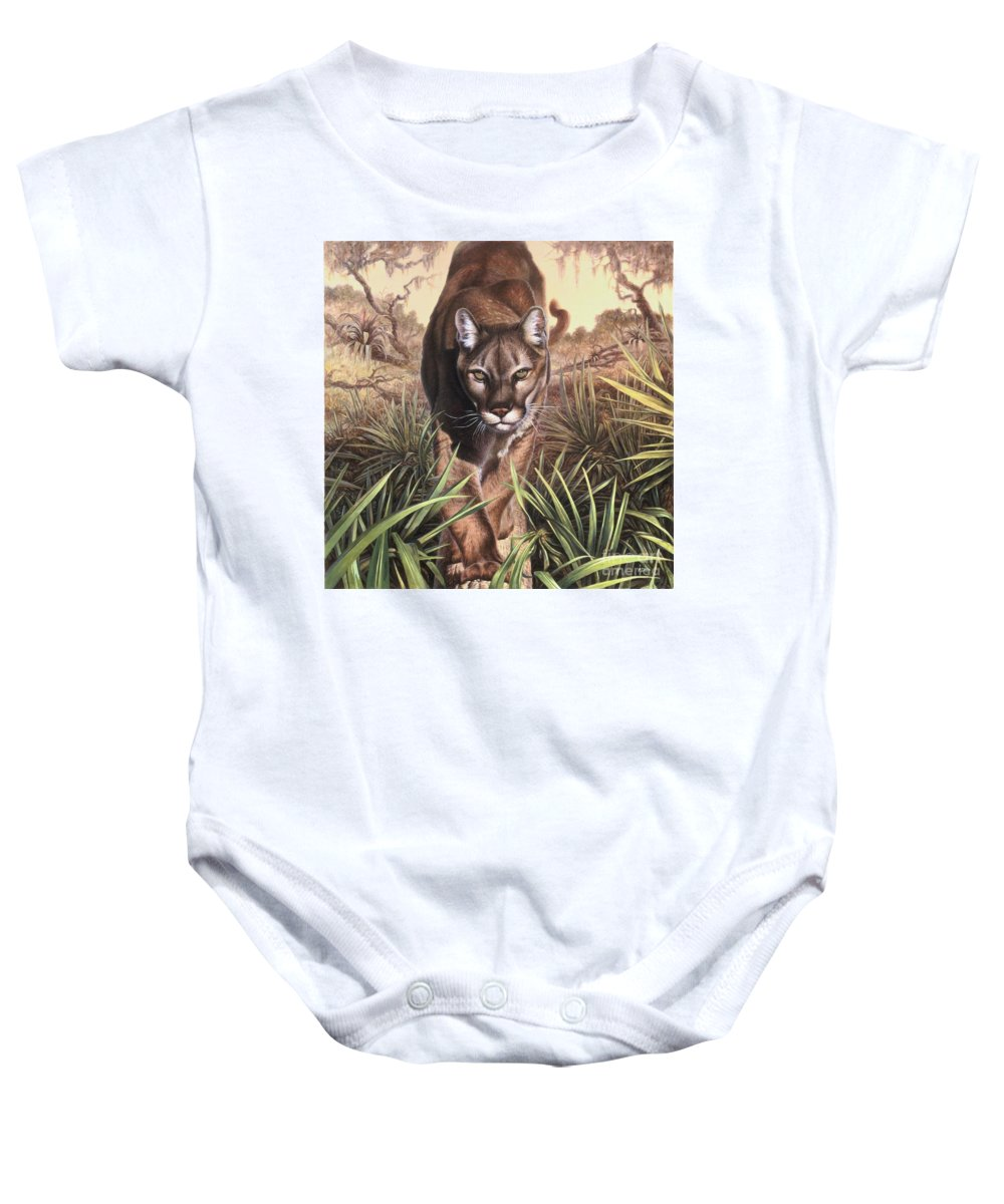 Florida Baby Onesie featuring the painting Florida Panther by Hans Droog