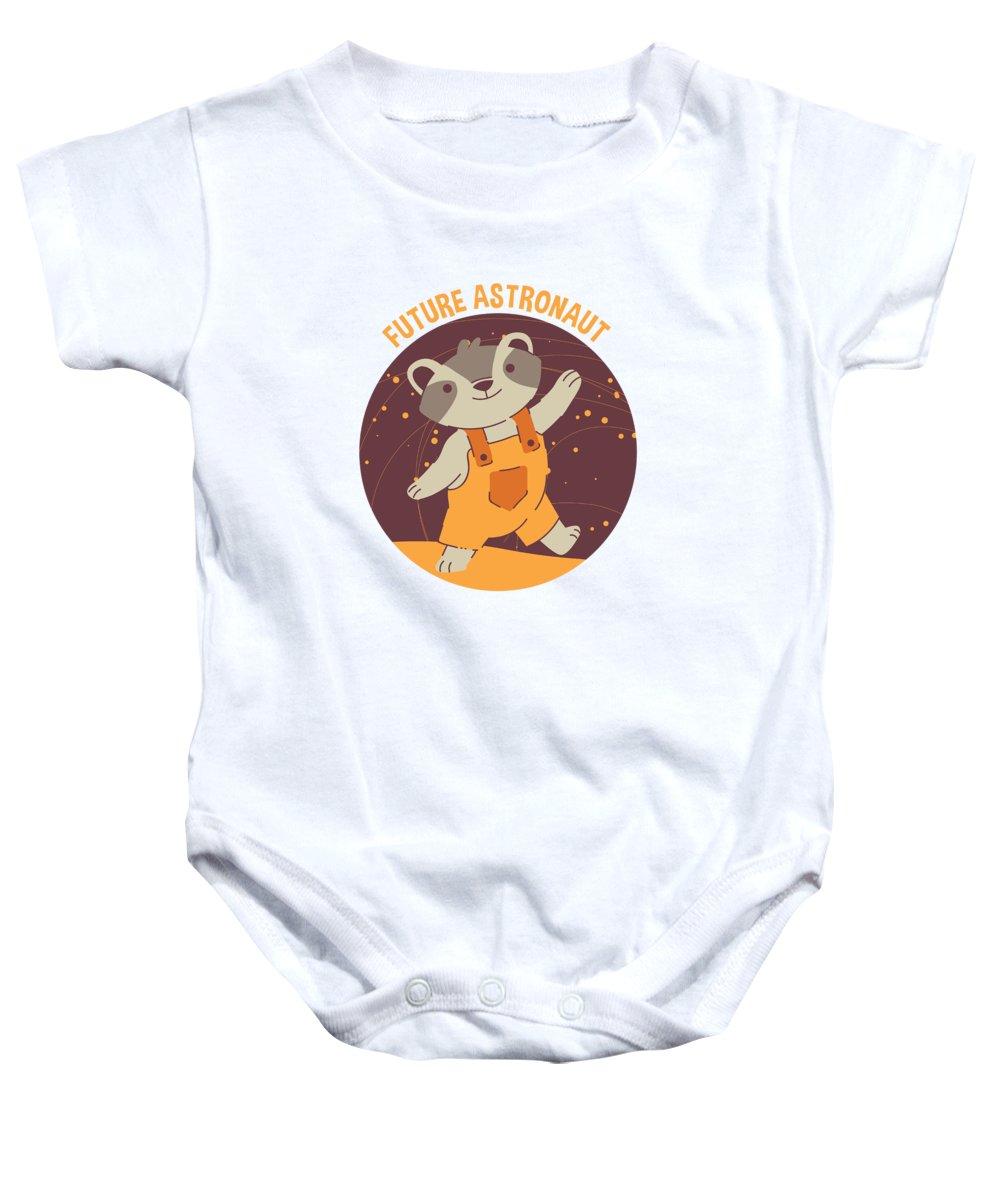 Adorable Baby Onesie featuring the digital art Future Astronaut Raccoon by Jacob Zelazny