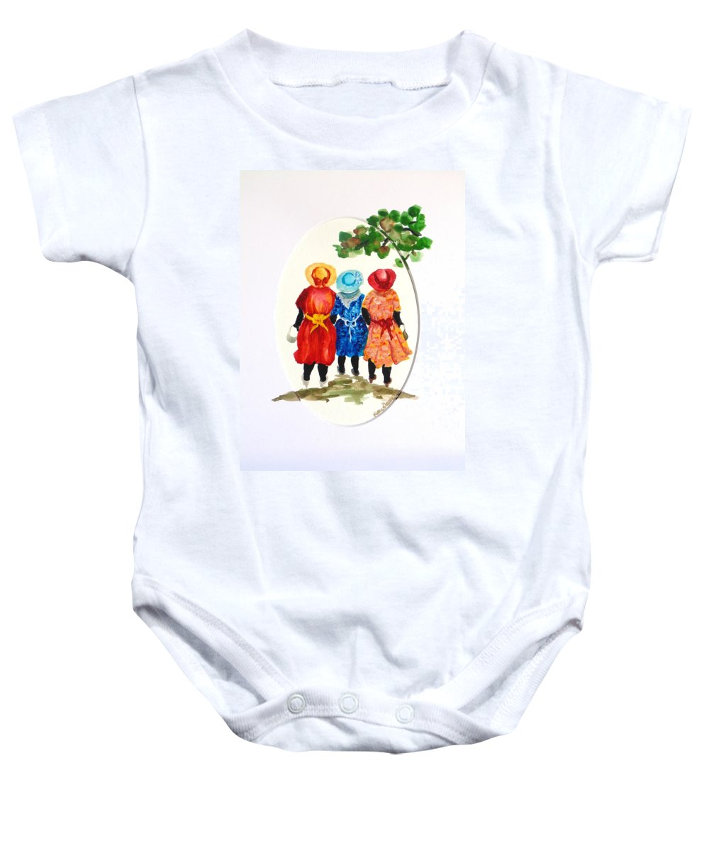 Three Women Caribbean Baby Onesie featuring the painting Going to church by Karin Dawn Kelshall- Best
