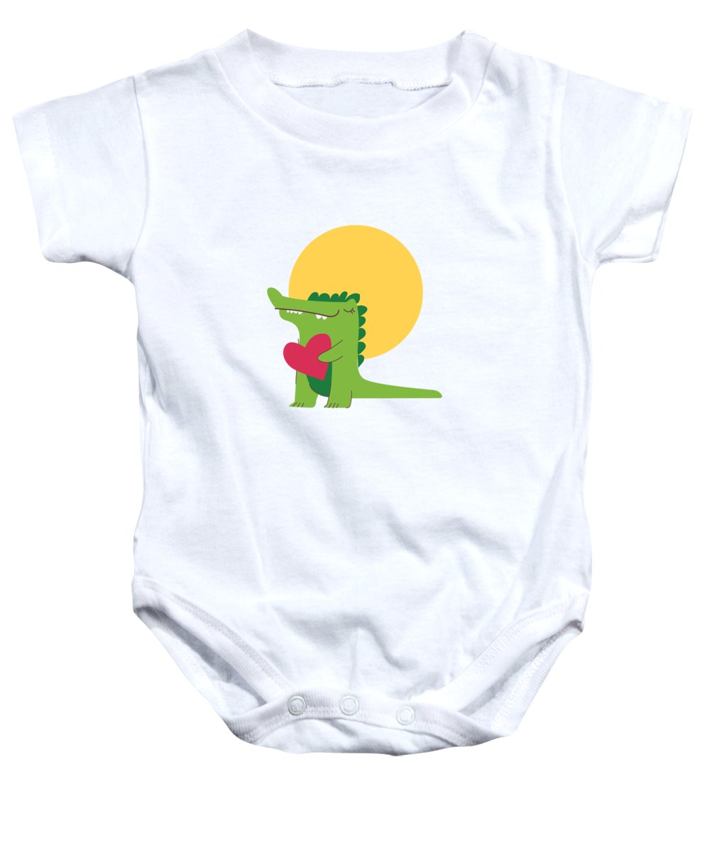 Adorable Baby Onesie featuring the digital art Happy Crocodile Holding a Big Heart by Jacob Zelazny