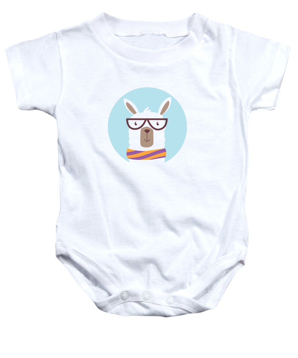 Adorable Baby Onesie featuring the digital art Hipster Llama with Glasses and Scarf by Jacob Zelazny