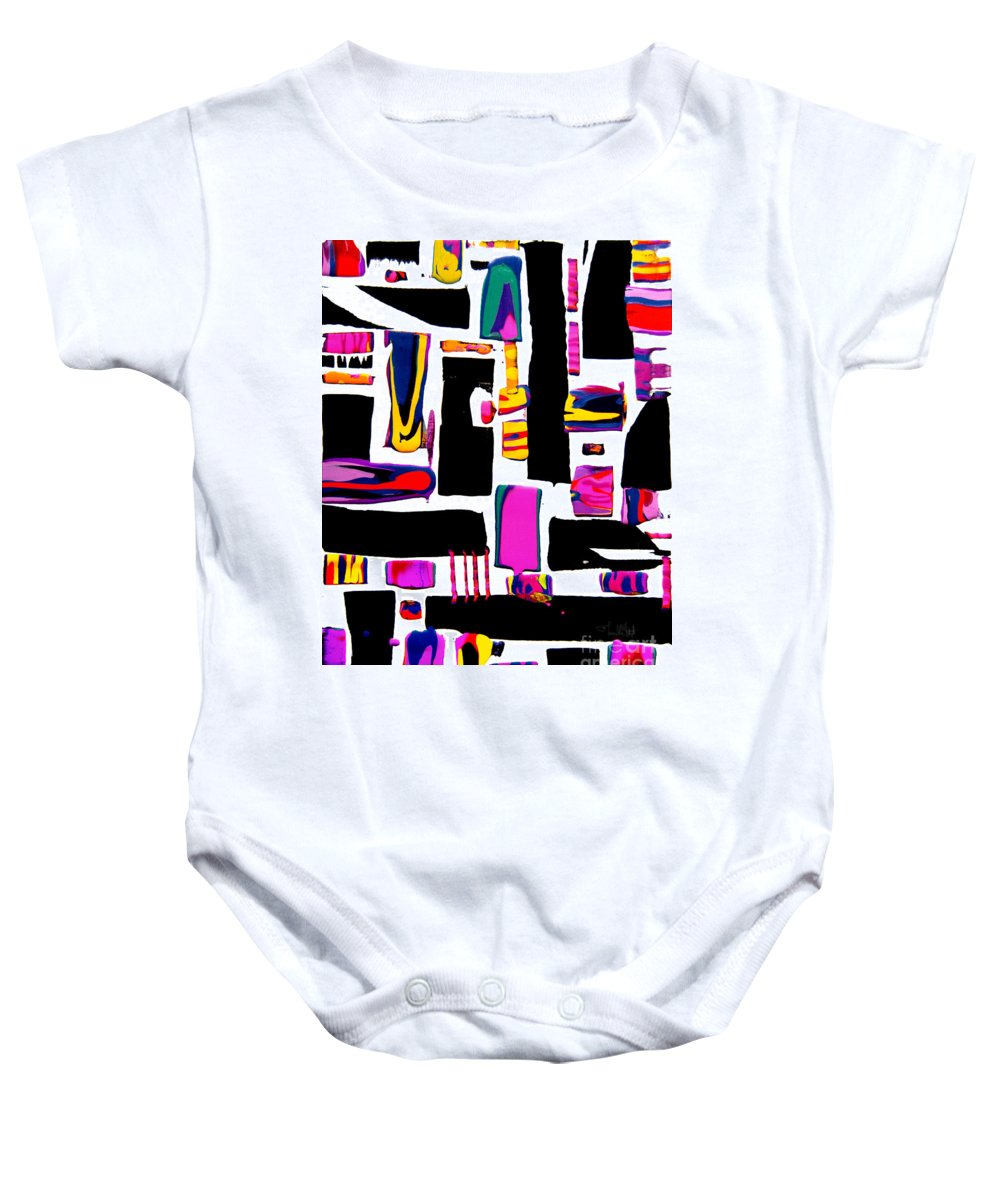 Colorful Happy Joyful Compelling Bright Vibrant Dramatic Geometric Blocky Baby Onesie featuring the painting Just For Fun #7342 by Priscilla Batzell Expressionist Art Studio Gallery