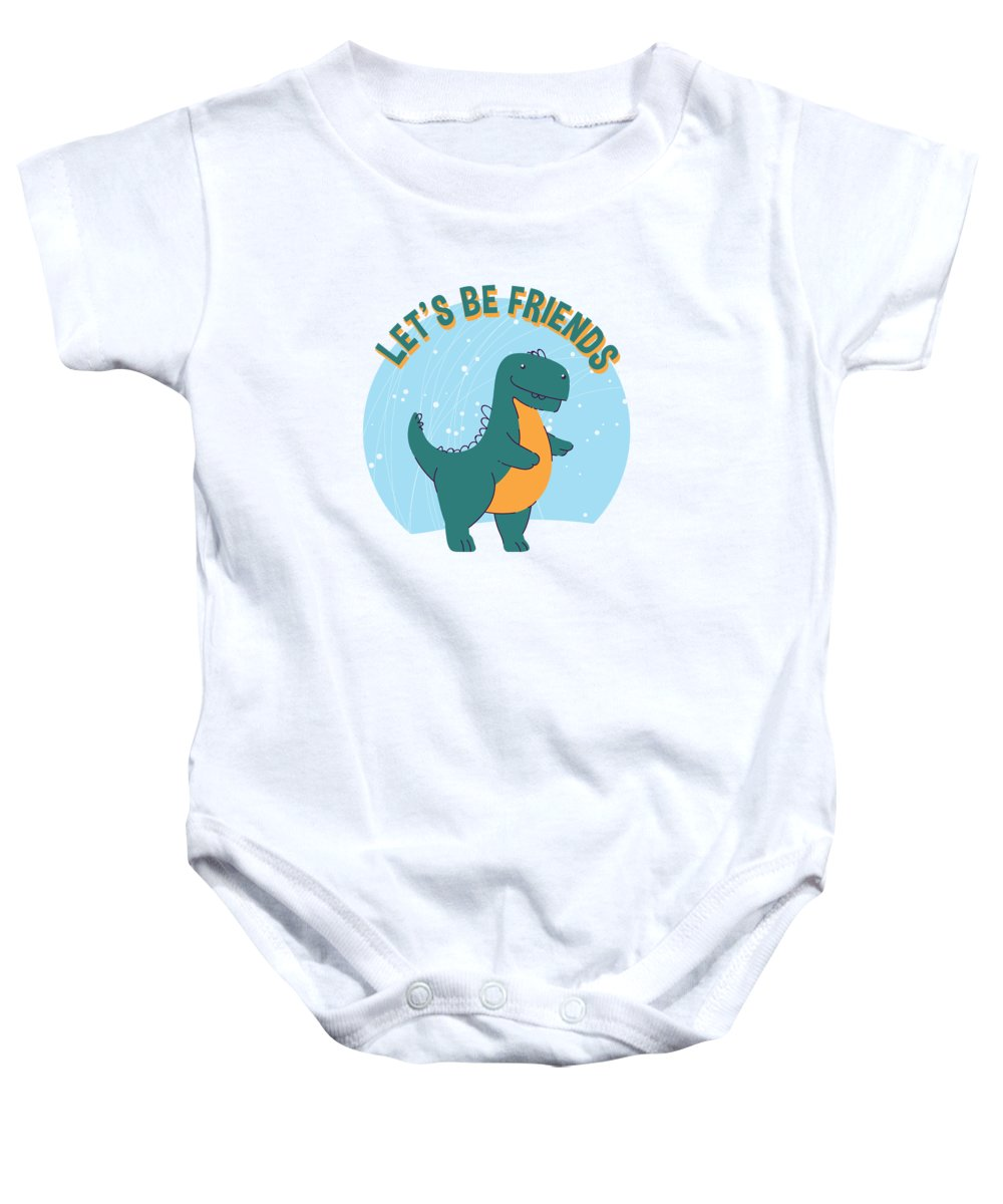 Adorable Baby Onesie featuring the digital art Lets Be Friends Tyrannosaurus Rex Dinosaur by Jacob Zelazny