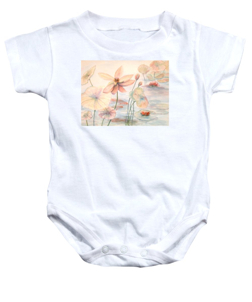 Lily Pads And Lotus Blossoms Baby Onesie featuring the painting Lily Pads by Ben Kiger