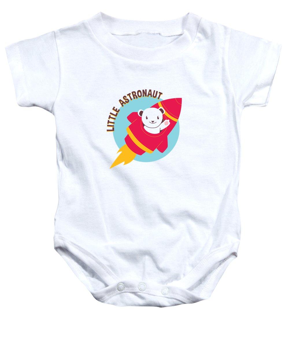 Adorable Baby Onesie featuring the digital art Little Astronaut Baby Polar Bear Rocket by Jacob Zelazny