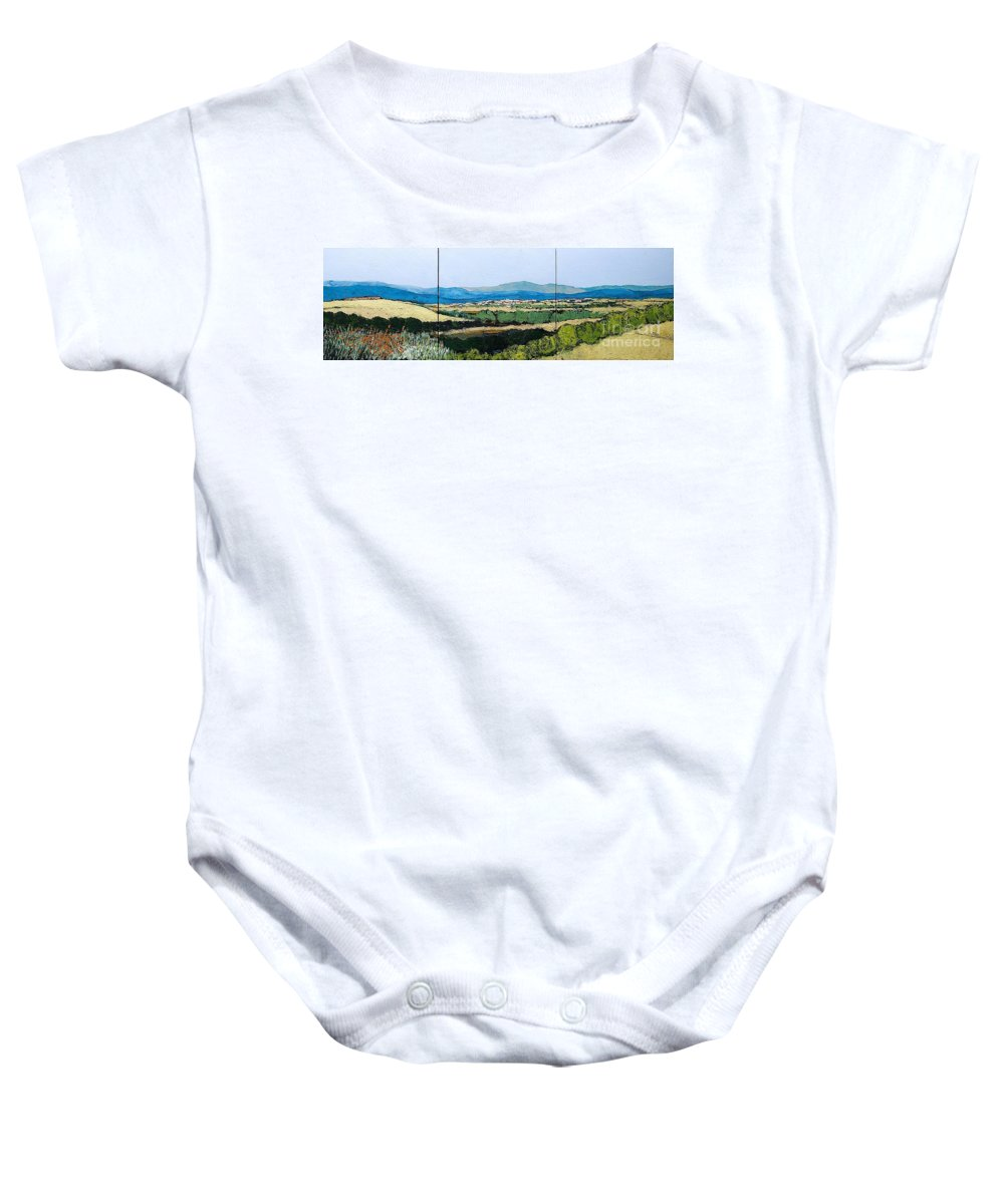 Landscape Baby Onesie featuring the painting Long Get Away by Allan P Friedlander