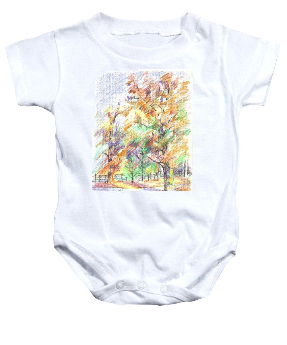 Pleasant Autumn In Brigadoon C104 Baby Onesie featuring the painting Pleasant Autumn in Brigadoon C104 by Kip DeVore