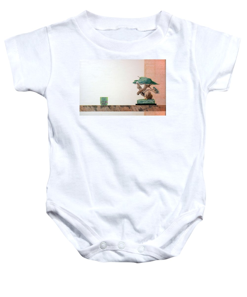 Still Life Baby Onesie featuring the painting Second Cup by A Robert Malcom