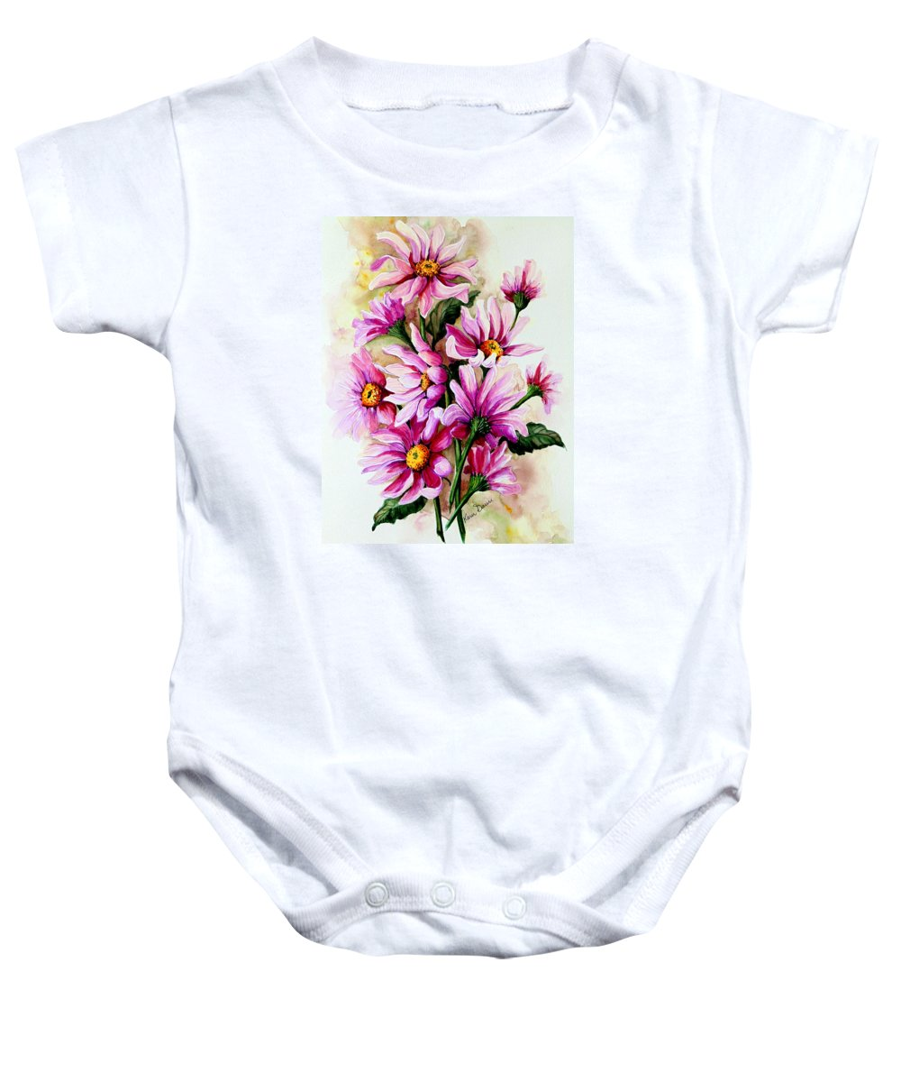 Pink Daisy Floral Painting Flower Painting Botanical Painting Bloom Painting Greeting Card Painting Baby Onesie featuring the painting So Pink by Karin Dawn Kelshall- Best