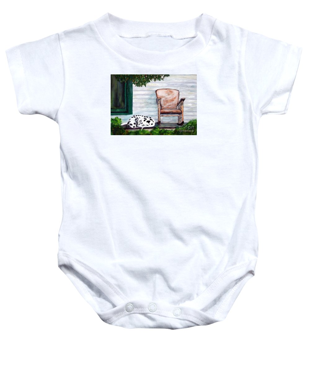 Dog Baby Onesie featuring the painting Summer Evening by Jacki McGovern