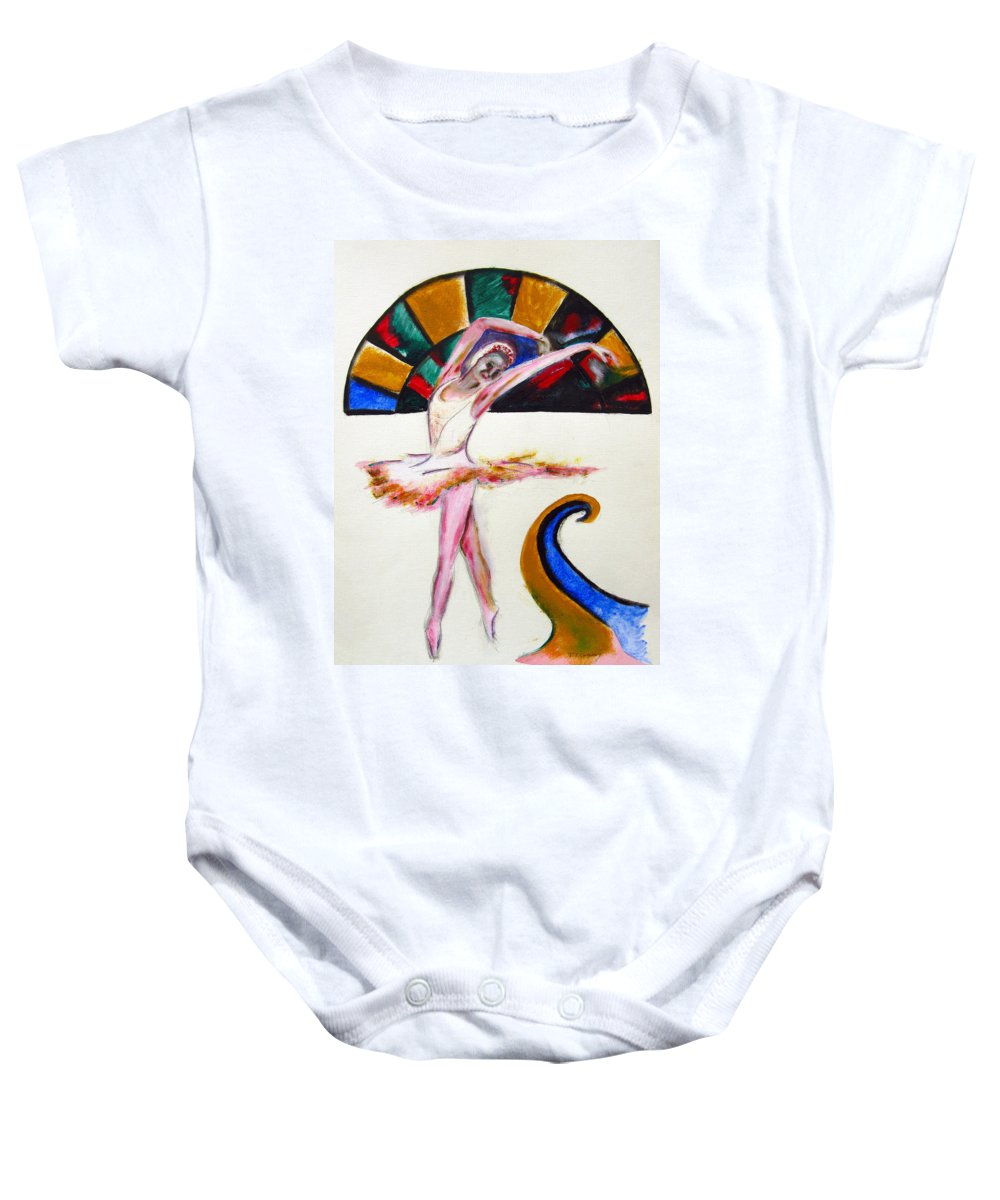 Female Baby Onesie featuring the painting The Ballerina by Tom Conway