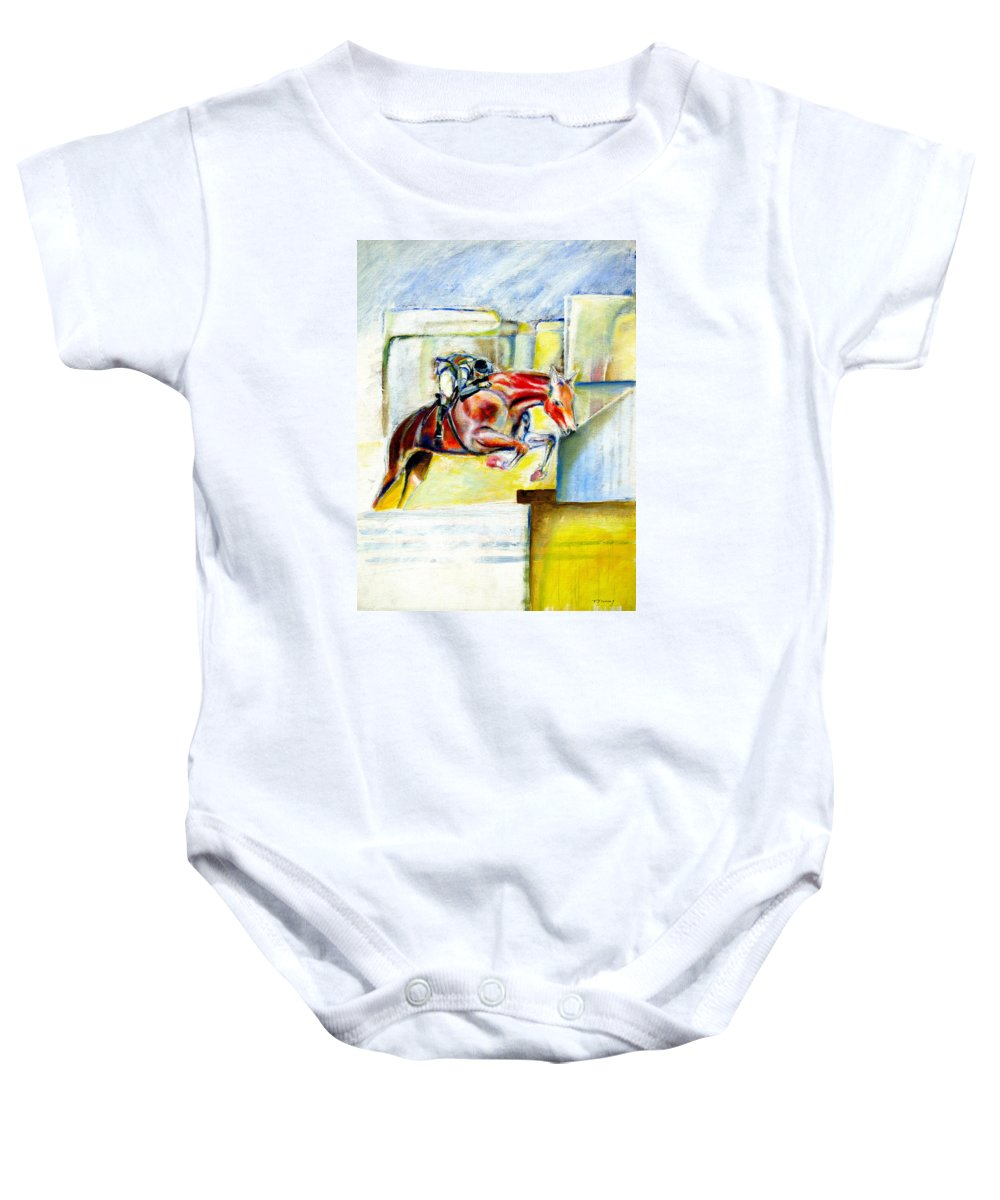 Horse Baby Onesie featuring the painting The Equestrian Horse and Rider by Tom Conway