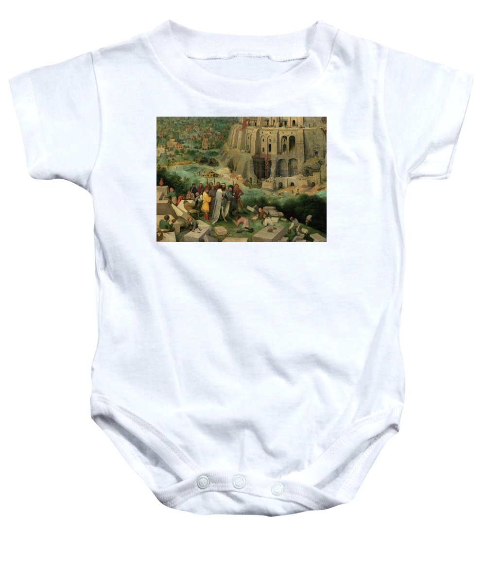 Pieter Bruegel The Elder Baby Onesie featuring the painting The King And Entourage Visiting The Builders, The Tower Of Babel by Pieter Bruegel the Elder