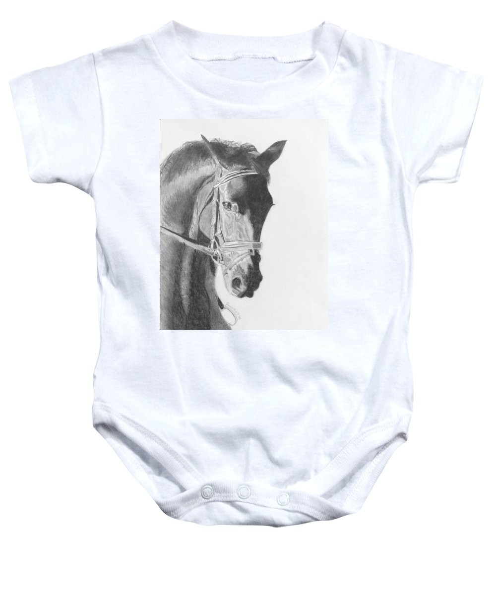Horse Baby Onesie featuring the drawing Tyberius by Quwatha Valentine