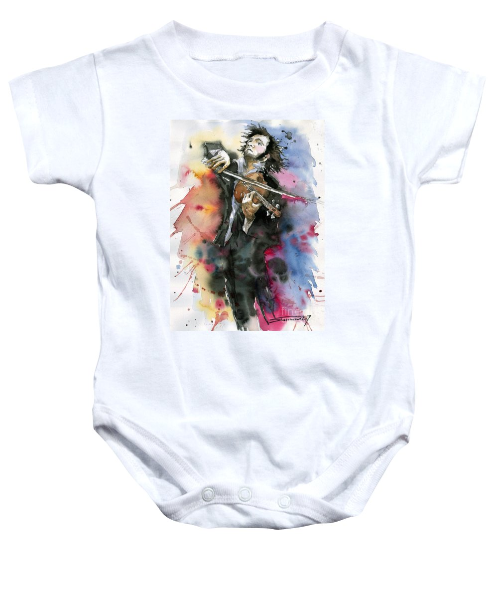 Music Baby Onesie featuring the painting Violine player. by Yuriy Shevchuk