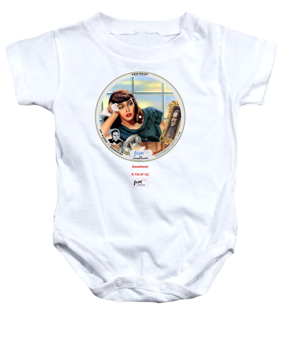 Vogue Picture Record Baby Onesie featuring the digital art Vogue Record Art - R 734 - P 12 by John Robert Beck