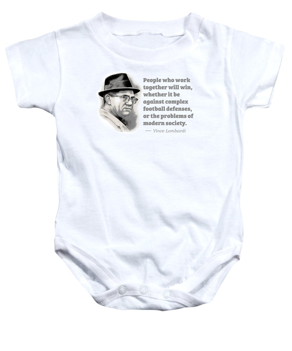 Vince Lombardi Baby Onesie featuring the digital art Working Together by Greg Joens