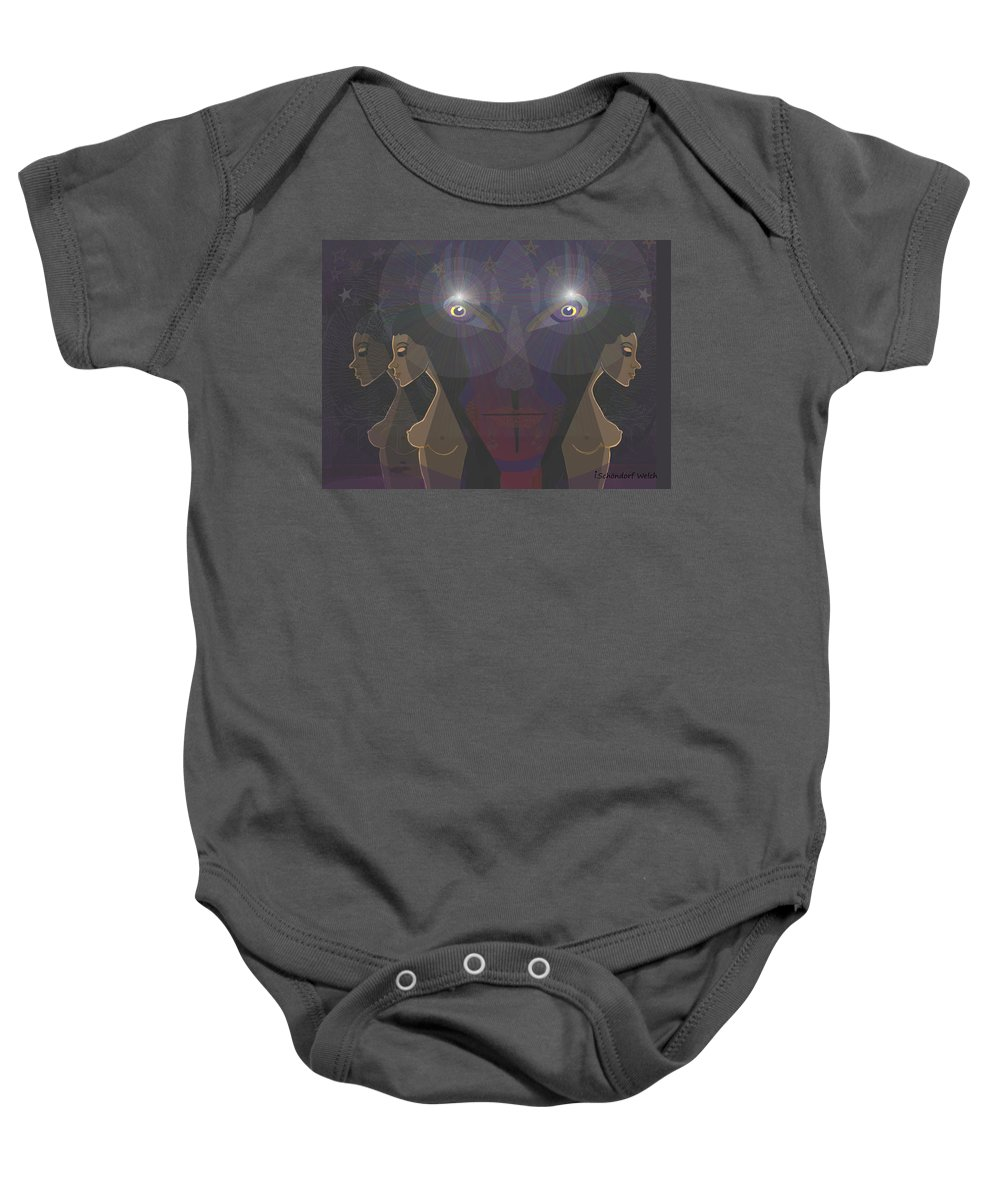 Woman Baby Onesie featuring the painting  464 - Virgins For Lucifer  by Irmgard Schoendorf Welch