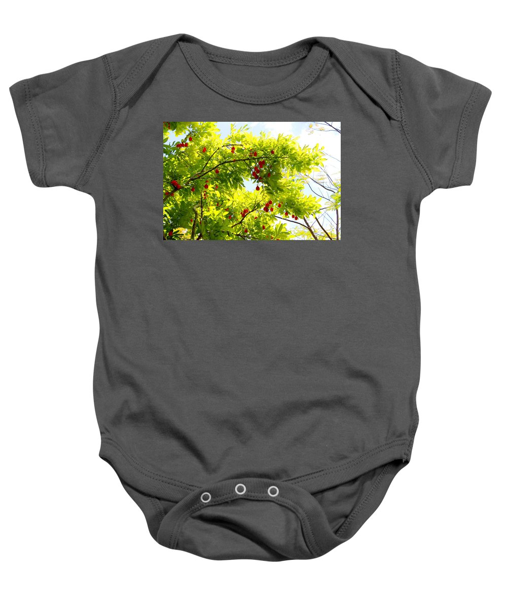 Ackee Baby Onesie featuring the photograph Ackee Tree Jamaica by Debbie Levene