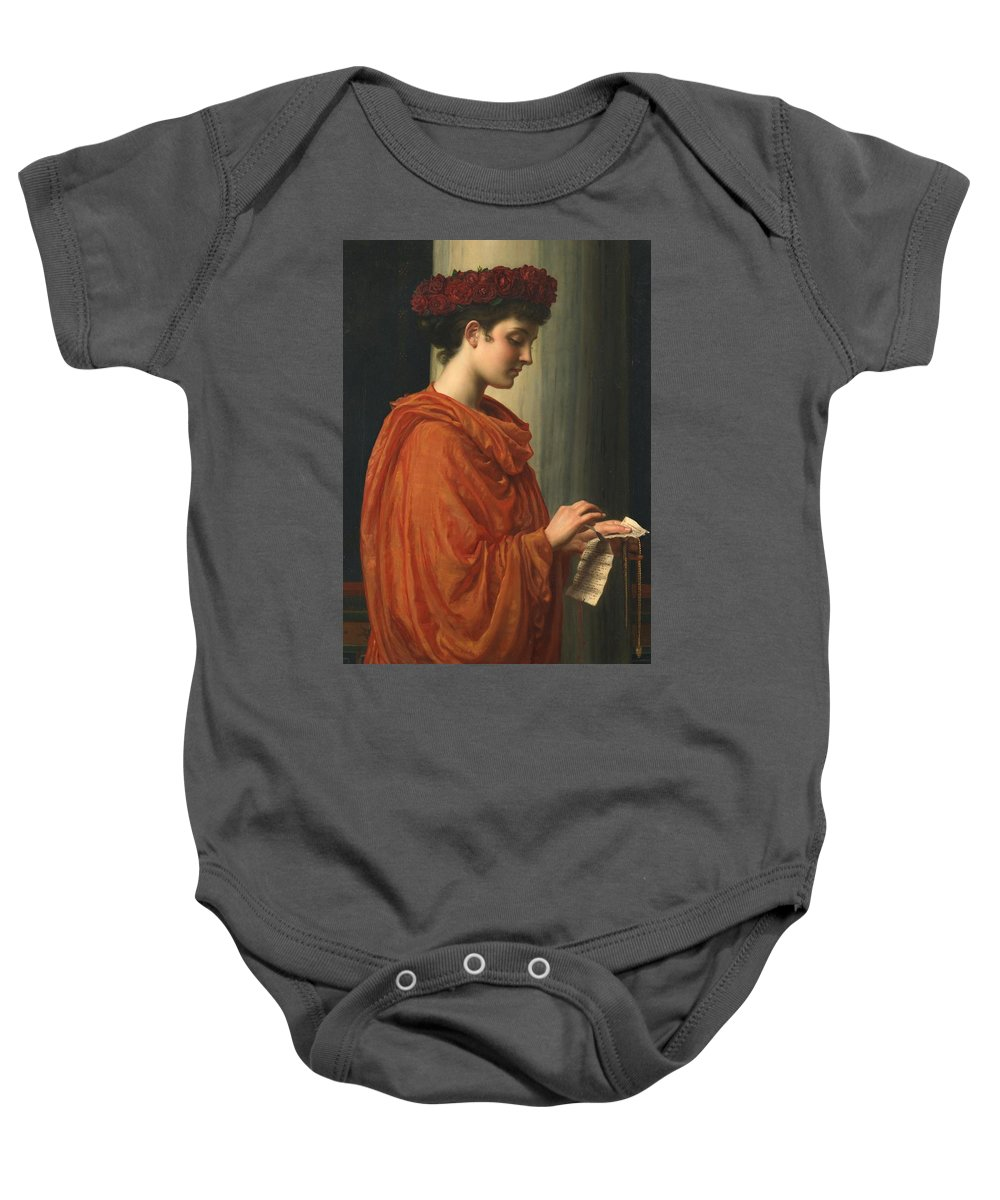 Female; Literature; Poetry; Character; Horace; Odes; Barine; Beauty; Note; Letter; Tearing; Ripping; Profile; Portrait Baby Onesie featuring the painting Barine by Sir Edward John Poynter