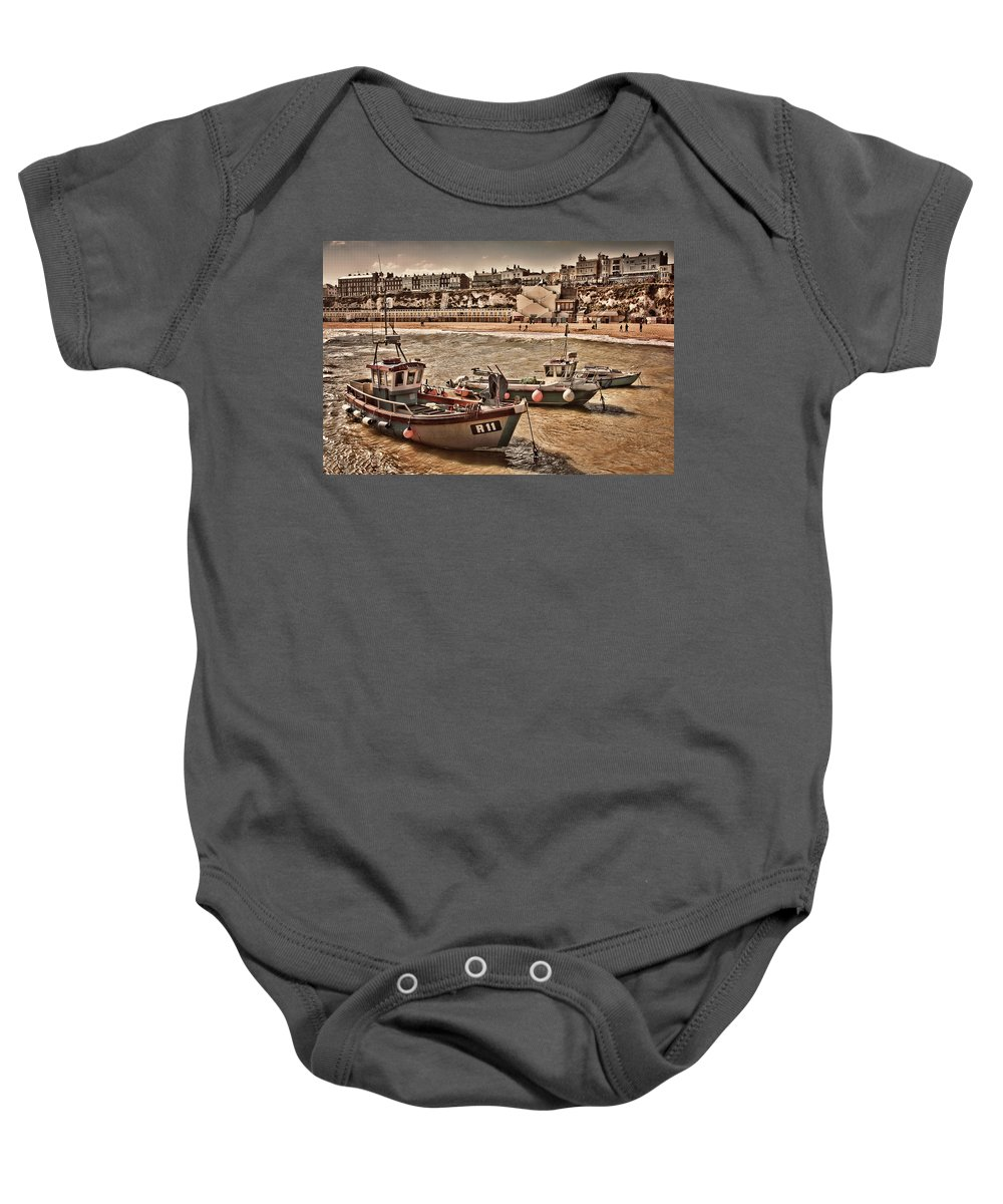 Fishing Boats On A Rough Day In The Harbour At Viking Bay In Broadstairs Kent Uk Baby Onesie featuring the photograph Boats At Broadstairs by Dave Godden