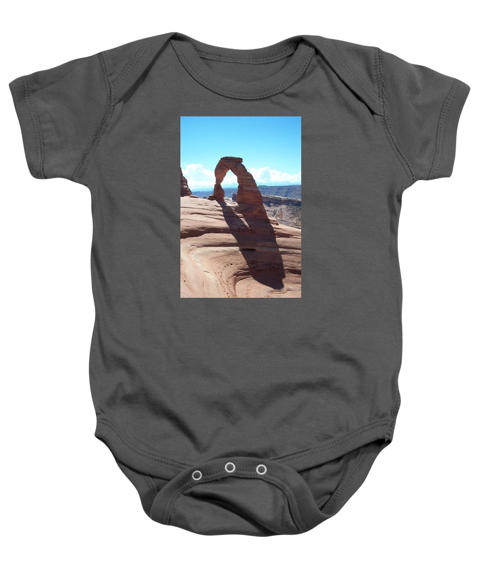 Arch Baby Onesie featuring the photograph Delicate Arch And Shadow by Christiane Schulze Art And Photography