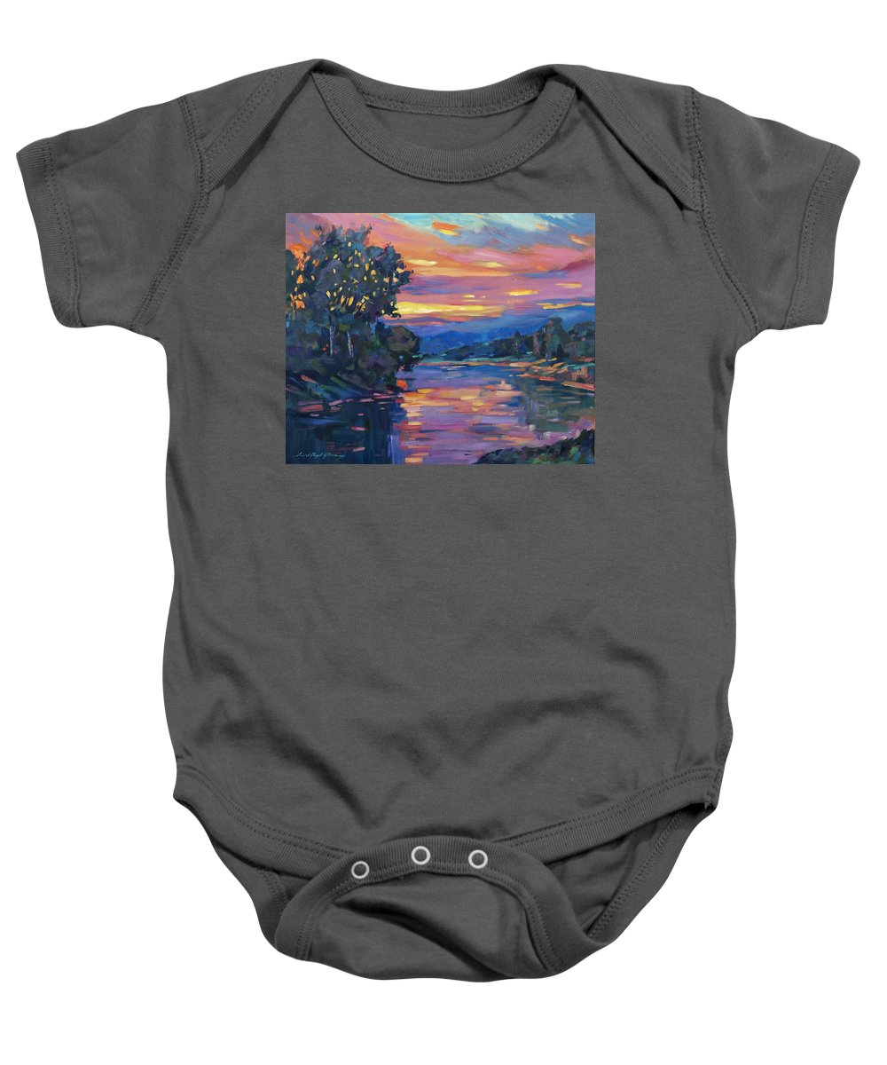 Landscape Baby Onesie featuring the painting Dusk River by David Lloyd Glover
