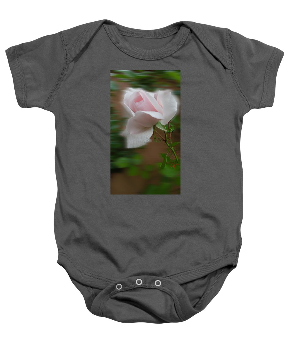 Collette Baby Onesie featuring the photograph July Rose Thought by Colette V Hera Guggenheim