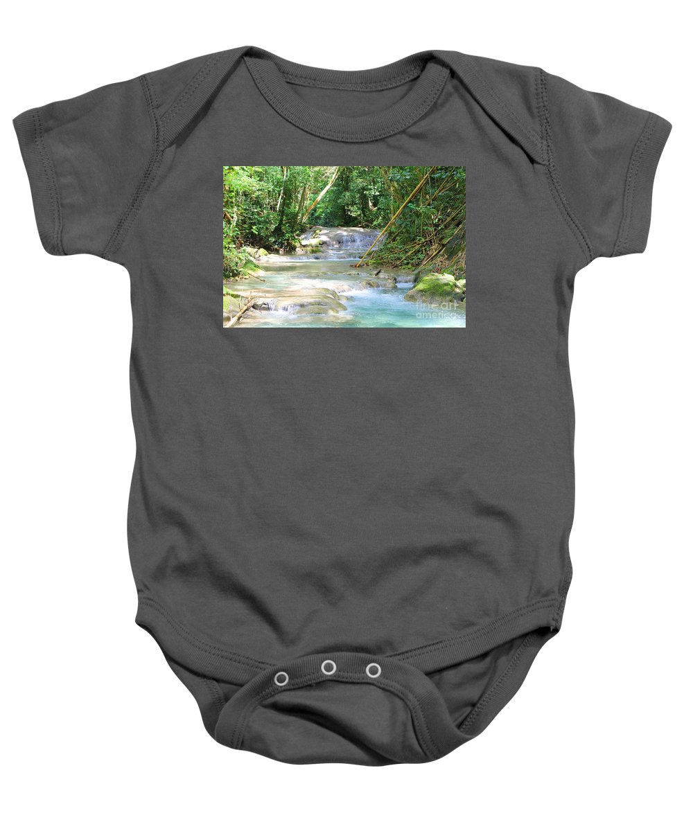 Mayfield Falls Baby Onesie featuring the photograph Mayfield Falls Jamaica 12 by Debbie Levene