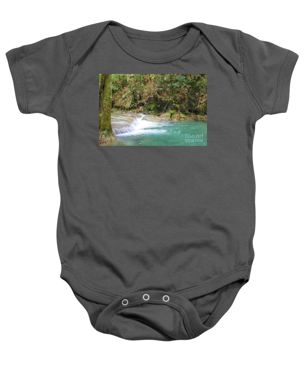 Mayfield Falls Baby Onesie featuring the photograph Mayfield Falls Jamaica 5 by Debbie Levene
