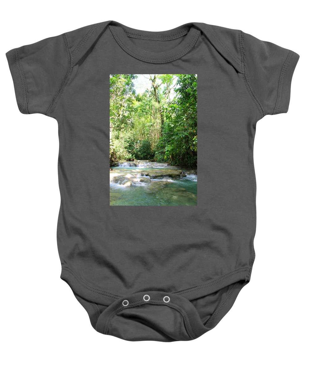 Mayfield Falls Baby Onesie featuring the photograph Mayfield Falls Jamaica2 by Debbie Levene